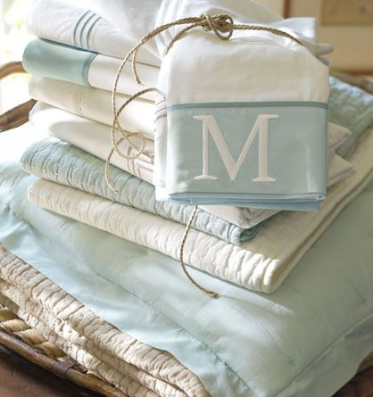 Lovely #linens in blue and white. Classy, modern, stunning. #Home #Decor