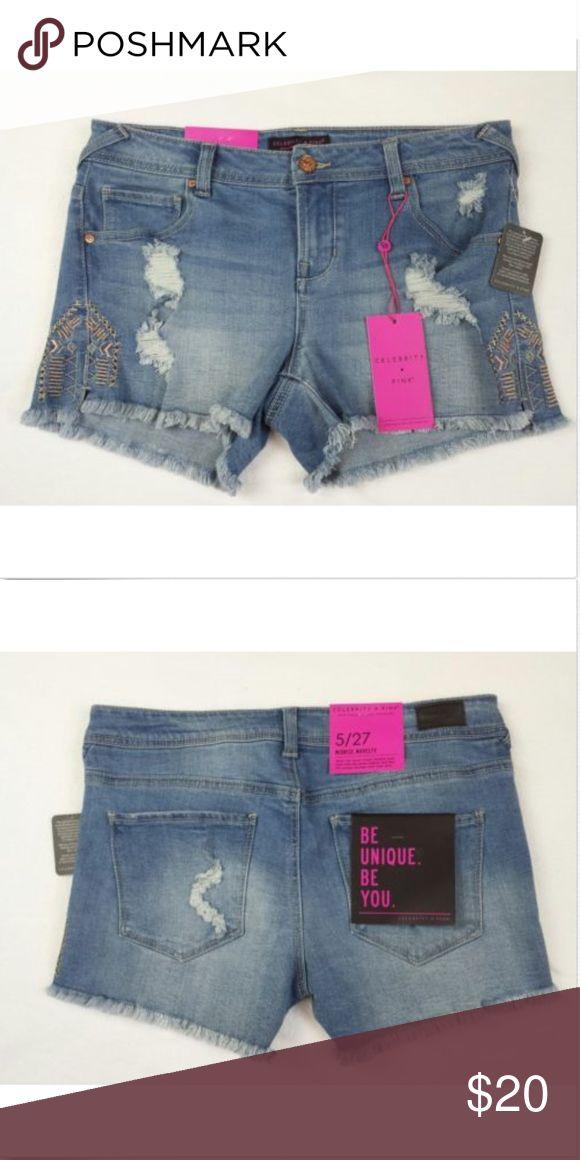 Juniors Shorts Size 5/27 New  Celebrity Pink  Juniors Shorts  Size 5/27  Distressed  Embroidery Celebrity Pink Shorts Jean Shorts