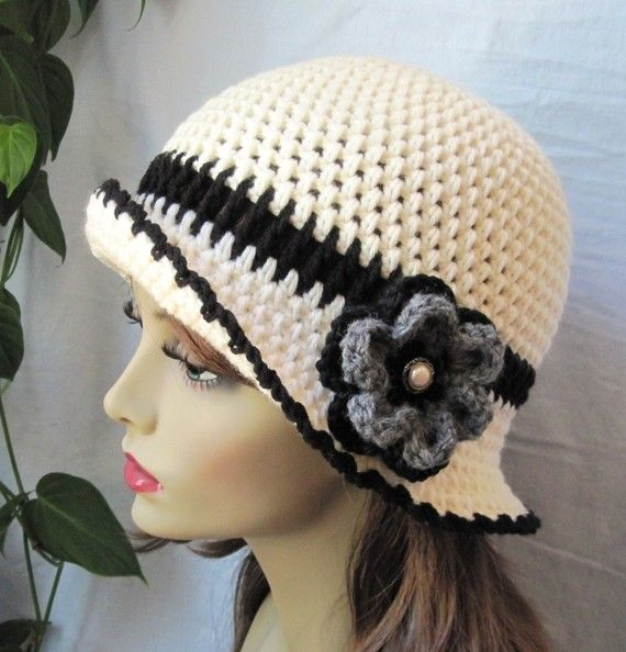 Womens Hat Off White and Black Cloche Cream by JadeExpressions