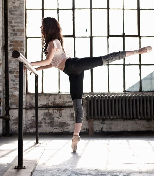 """Prima_Studio_barre.  Illusion leggings and tee that reads """"Make Your Pointe"""""""