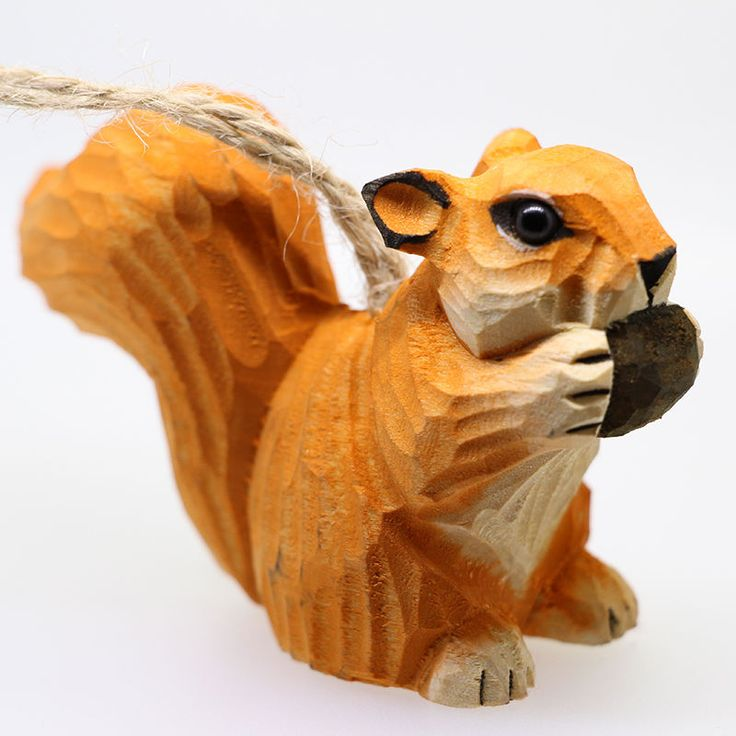 New Listing Wooden Animal Craft Wood Carving Squirrel