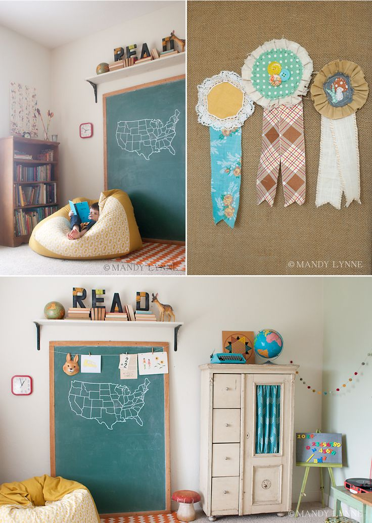 Vintage Style Reading Nook // Homeschool Room. Love the colors.