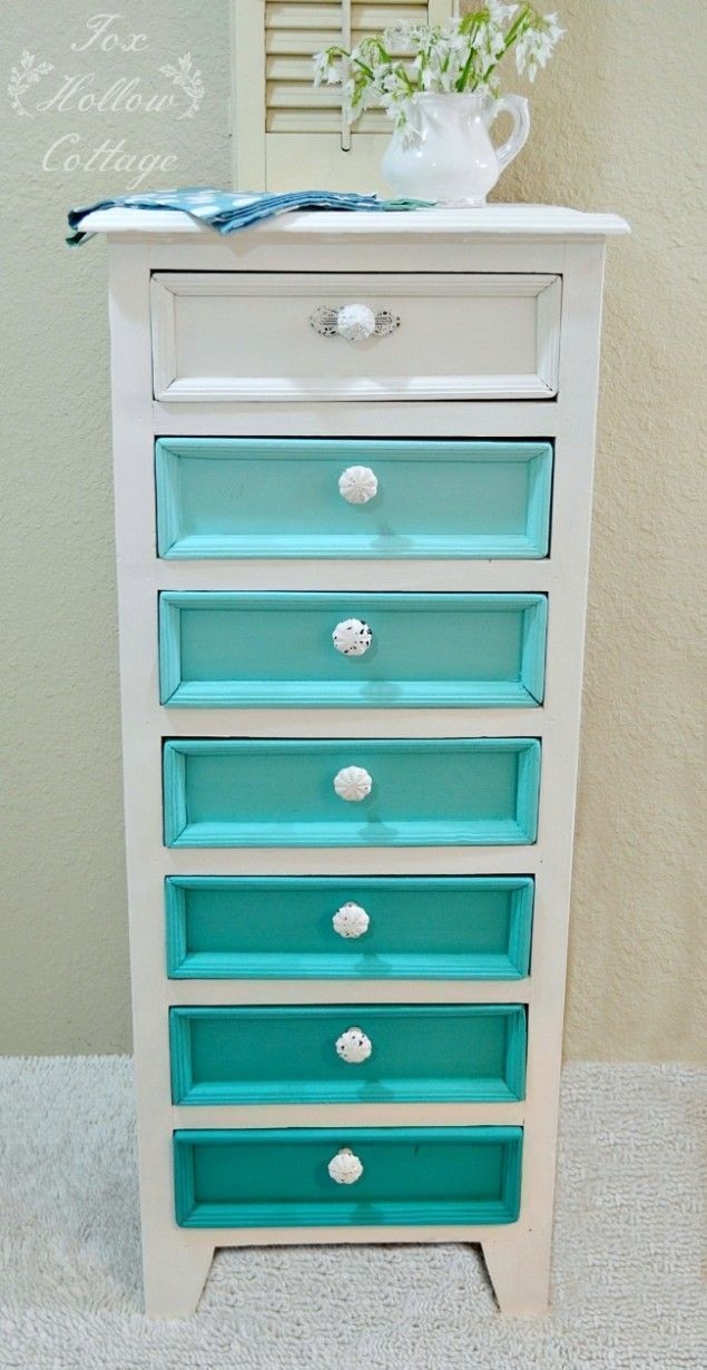 Aqua Ombre Dresser Chest:: Beginner Friendly Painted Furniture Makeover Ideas and Tips #shabbychicdressersteal