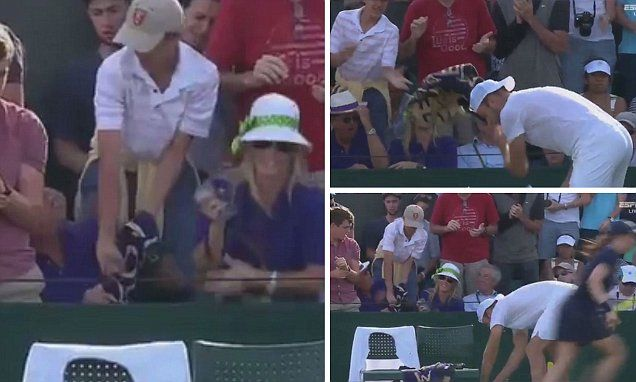 Young fan has Jack Sock's Wimbledon towel ripped out his hands