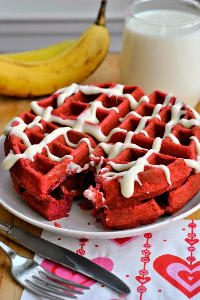 Red Velvet Waffles with a cream cheese glaze.  Great for Valentine's or an anniversary!