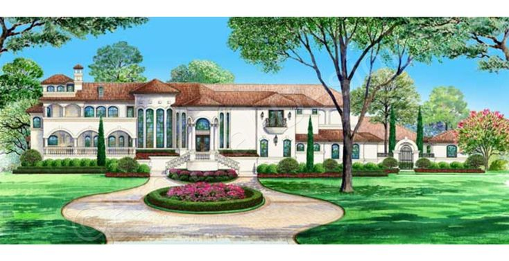 The Venetian House Plan - The Venetian House Plan Front View Rendering - Archival Designs