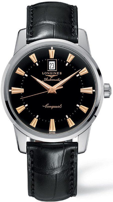 @longineswatches Conquest Heritage Mens #bezel-fixed #bracelet-strap-alligator #buckle-type-tang-type-buckle #case-depth-10-5mm #case-material-steel #case-width-40mm #date-yes #delivery-timescale-1-2-weeks #dial-colour-black #gender-mens #l16454524 #limited-code #luxury #movement-automatic #official-stockist-for-longines-watches #packaging-longines-watch-packaging #sku-lng-659 #subcat-conquest #supplier-model-no-l1-645-4-52-4 #warranty-longines-official-2-year-guarantee #water-...
