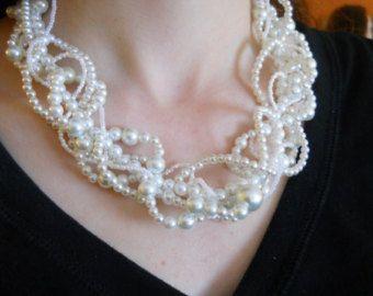 Items similar to Wedding Necklace, Pearl Bridal Necklace, Swarovski Pearls Crystals Bridesmaid Necklace, Brides Necklace Woven Wedding Jewerly Customizable on Etsy