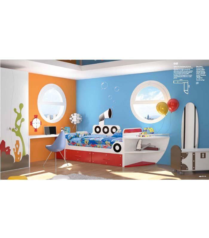Original habitación temática. Ésta colección ofrece las camas más divertidas para los más peques de la casa. http://www.aristamobiliario.es/cabeceros-y-camas-juveniles/1296-cama-juvenil-barco-tegar-mobel.html