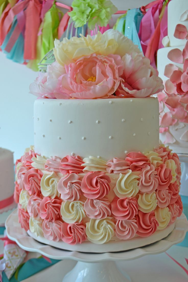 Rose swirl bridal shower cake by Bake Sale.
