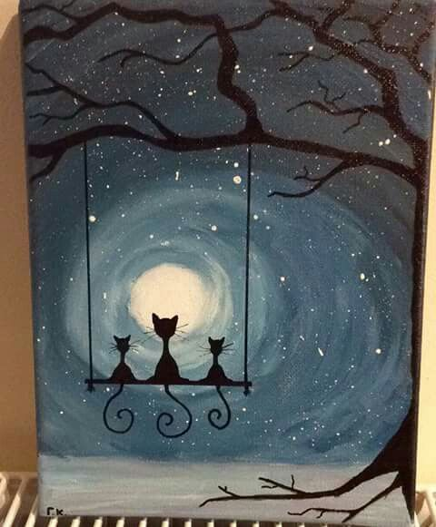 Cats at the moon