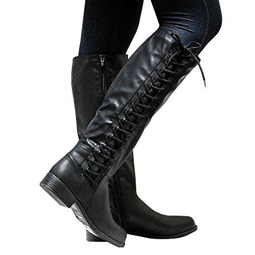 Womens Lace Up Chunky Heels Knee High Riding Boots Knight Combat Casual Shoes
