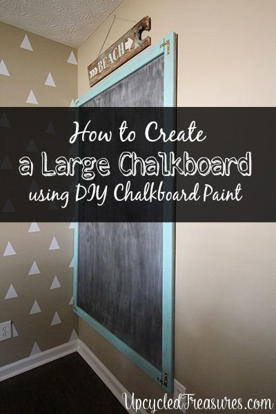 How to Create a large chalkboard using DIY chalkboard paint. Upcycledtreasures.com