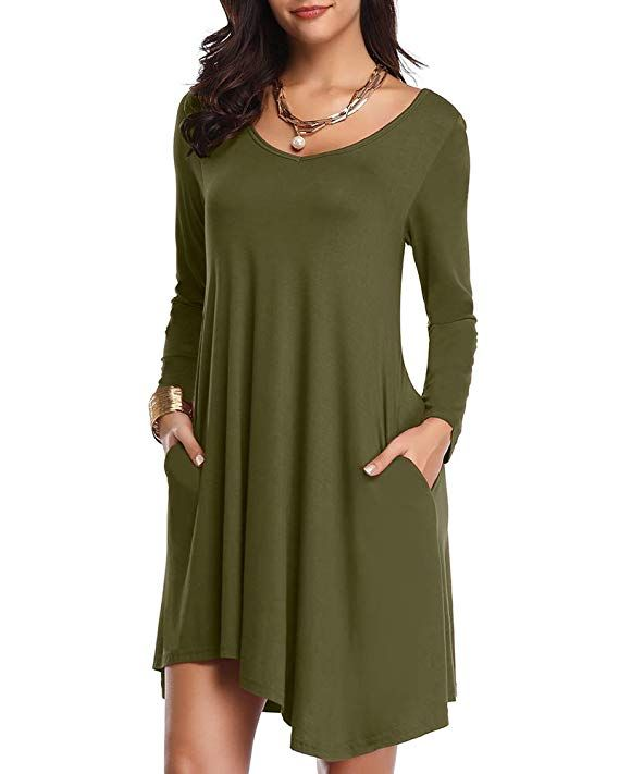51df5c005124 JollieLovin Women's Long Sleeve Pockets Loose T-Shirt Dress Asymmetrical  Hem (Army Green, S)