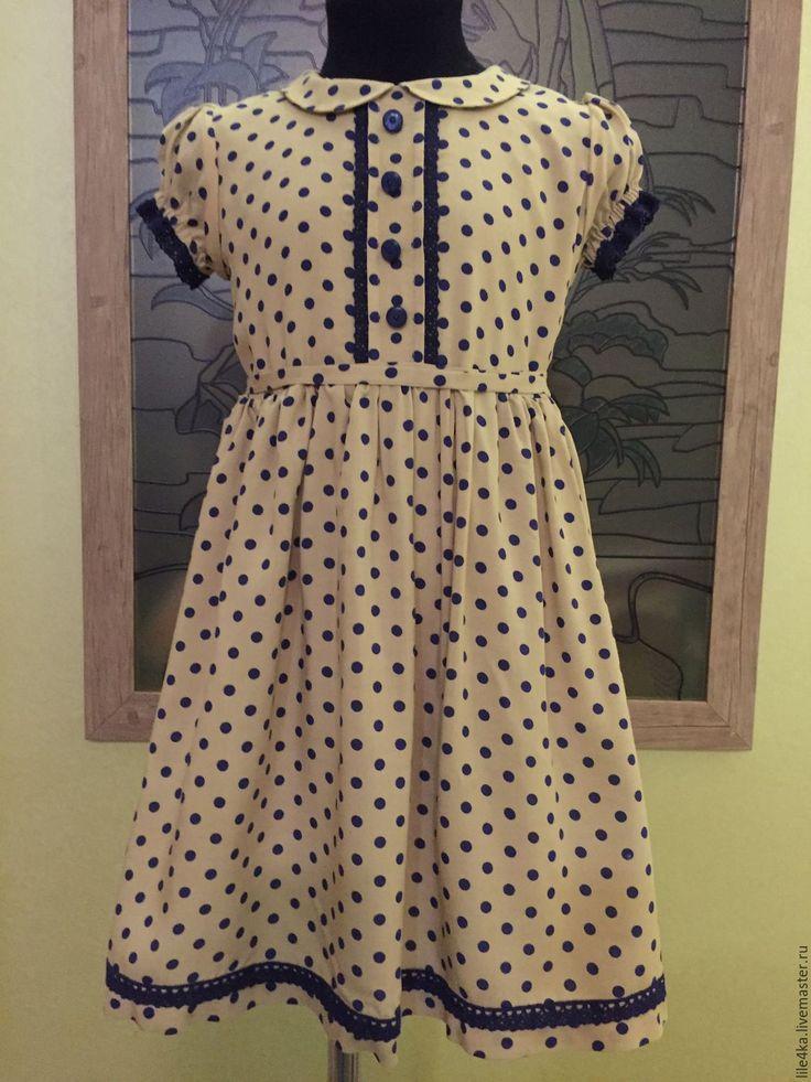 Купить Платье в горох - бежевый, в горошек, платье, Платье нарядное, платье летнее, платье для девочки