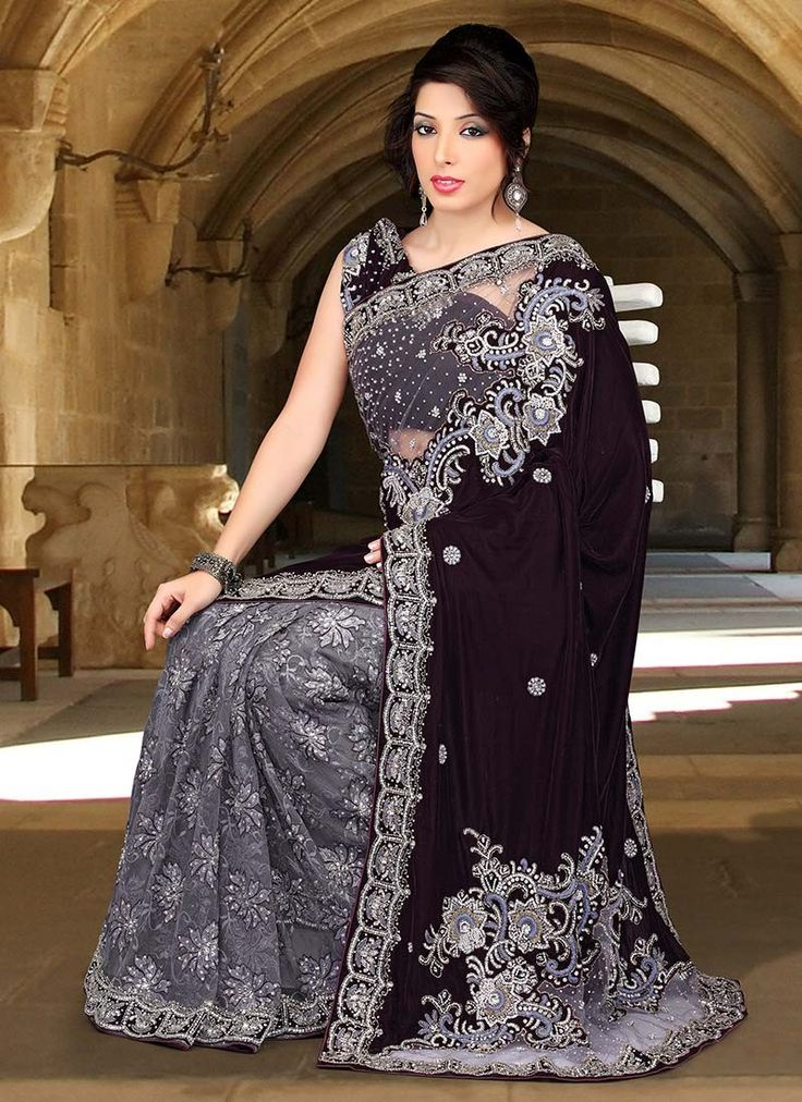 Grey And Deep Brown Fancy Net And Velvet Saree