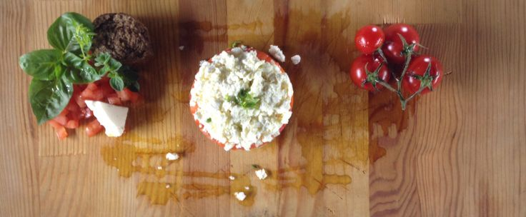 Rye Rusk, Goat Cheese and tomatoes..