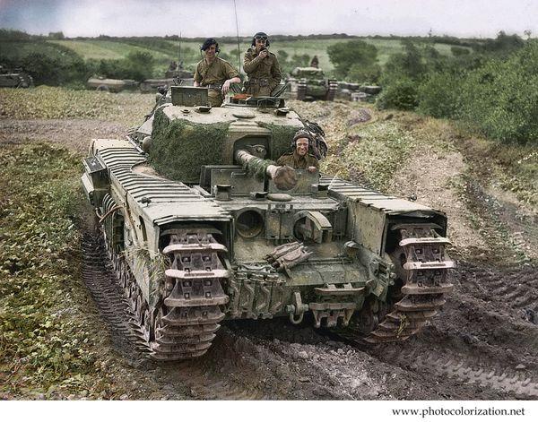 """Моя колоризация """"""""Churchill Crocodile"""". Британский танк времен второй мировой войны колоризация, танки, вторая мировая война, Союзники"""