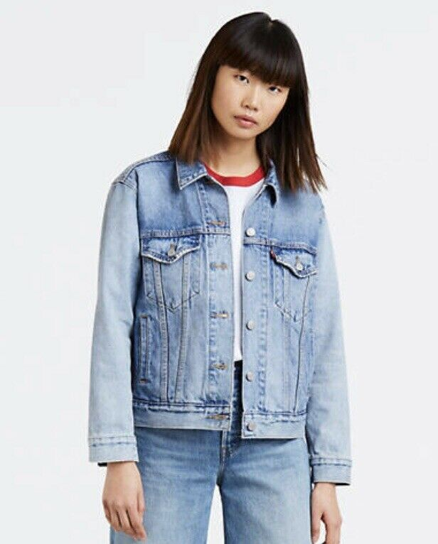 6a884a21146 Womens Levis Denim Jacket Trucker Light Wash Jeans Size Small  fashion   clothing  shoes