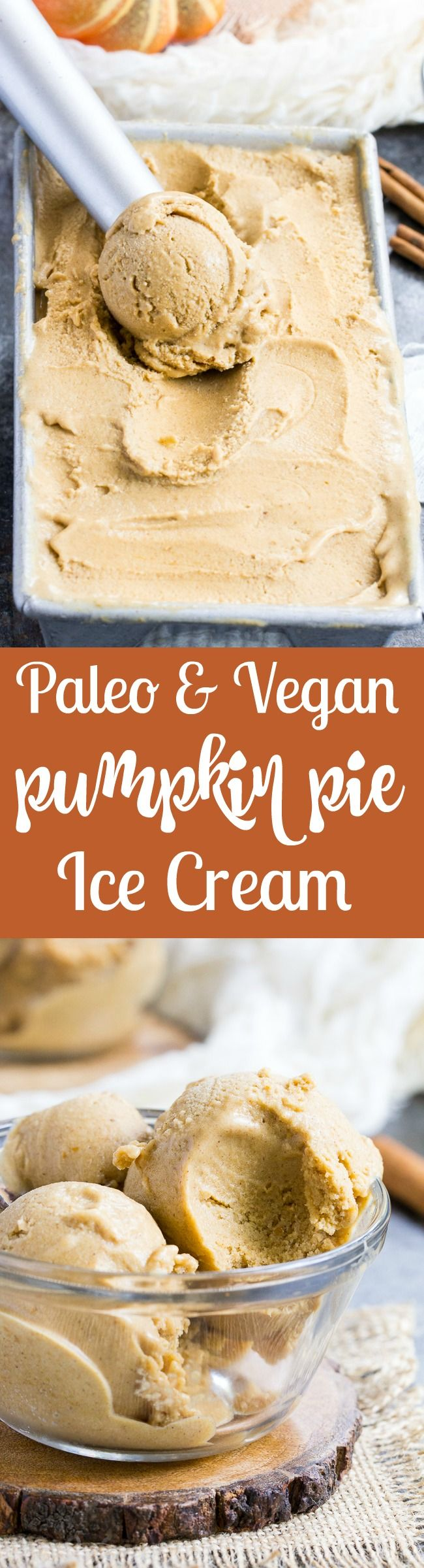 This Pumpkin Pie Paleo & Vegan Ice Cream is the perfect healthy pumpkin treat to make when you start craving all the sweet flavors of fall!  It's creamy, sweet and perfectly spiced – just like a pumpkin pie in ice cream form.  My kids can't get enough!  Paleo, dairy-free, vegan, egg free and easy to make.