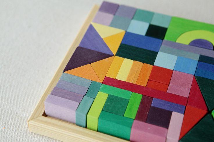 Rainbow Block Puzzle // Puzzle de bloques de madera