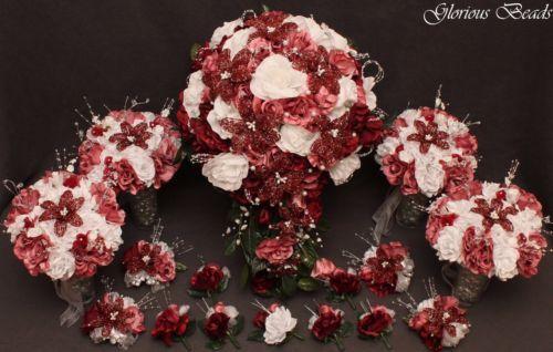 BEADED-LILY-Bridal-Cascading-Bouquet-Wedding-Flower-18-PC-set-Burgundy-Mauve