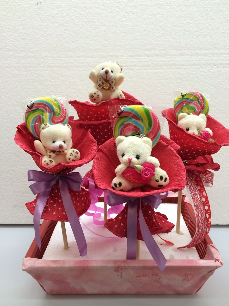 Red Teddy lolipop collection