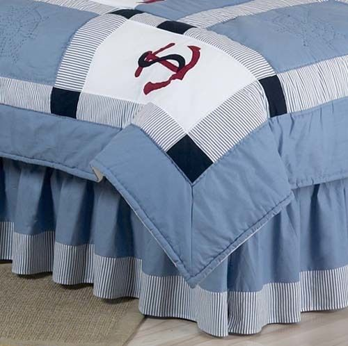 Blue and White Queen Bed Skirt for Come Sail Away Bedding