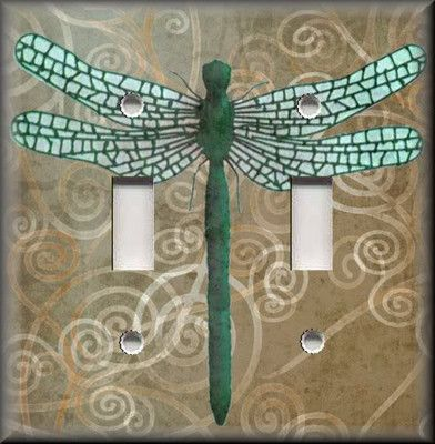 Light Switch Plate Cover - Dragonfly With Tan Swirl Background