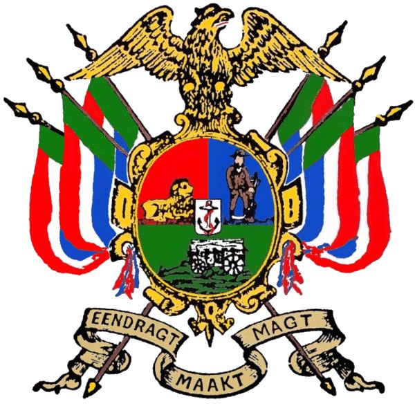 Illustration of arms of the South African Republic (Transvall) from National and Provincial Symbols of the Republic of South Africa by F G Brownell.Coat of Arms of the South African Republic.png
