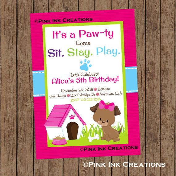 Puppy Birthday Invitation / Dog Birthday Invitation / Puppy Baby Shower Invitation / Puppy Birthday Party / Girl Puppy Invitation /PRINTABLE