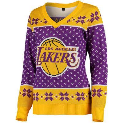 Women's Purple/Gold Los Angeles Lakers Big Logo V-Neck Sweater
