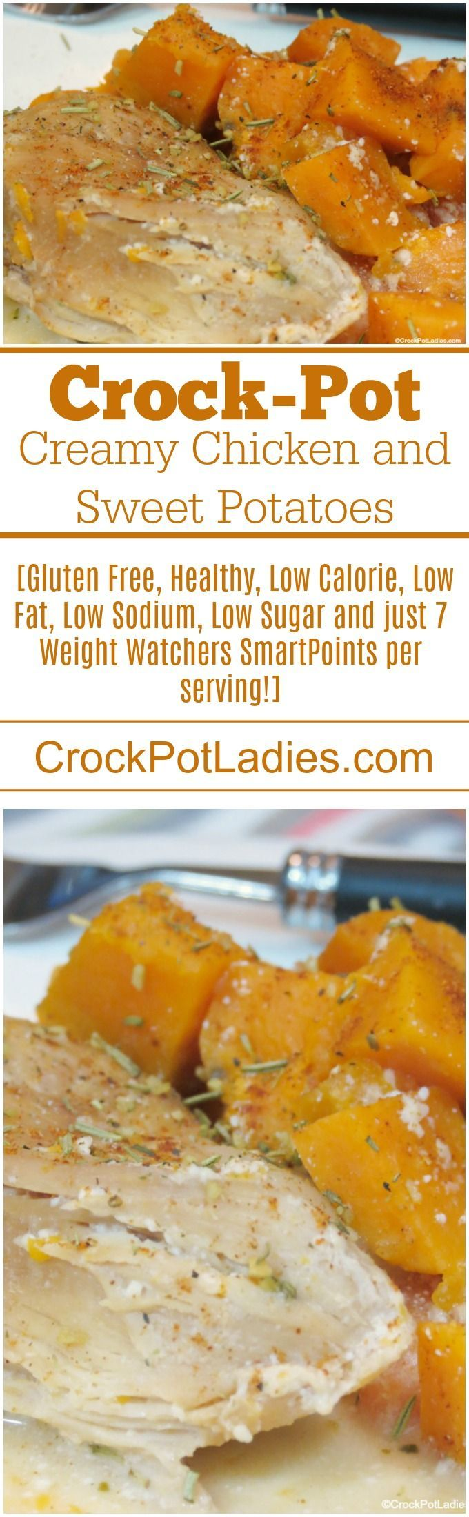 Crock-Pot Creamy Chicken and Sweet Potatoes - Sweet potatoes, boneless skinless chicken breasts, maple syrup and chive and onion flavored cream cheese combine together in the slow cooker in this easy one pot meal recipe! Your family will love this simple recipe for dinner any night of the week! [Gluten Free, Healthy, Low Calorie, Low Fat, Low Sodium, Low Sugar, Paleo and just 7 Weight Watchers SmartPoints per serving!] #CrockPot #SlowCooker #Recipes #HealthyRecipes #WeightWatchers