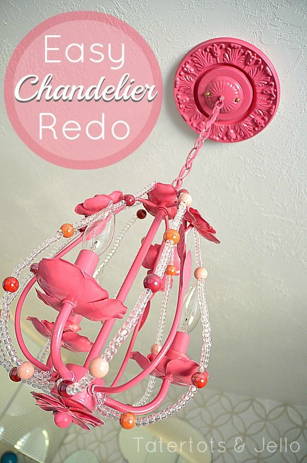 Tatertots and Jello - Easy Chandelier Redo.. I actually have this exact chandelier- need to do this for Julia's room.