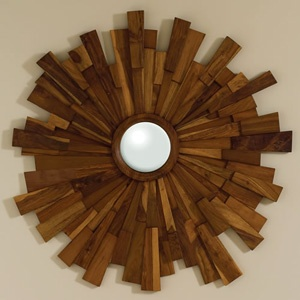 Industrial Wooden Sunburst Mirror NEW