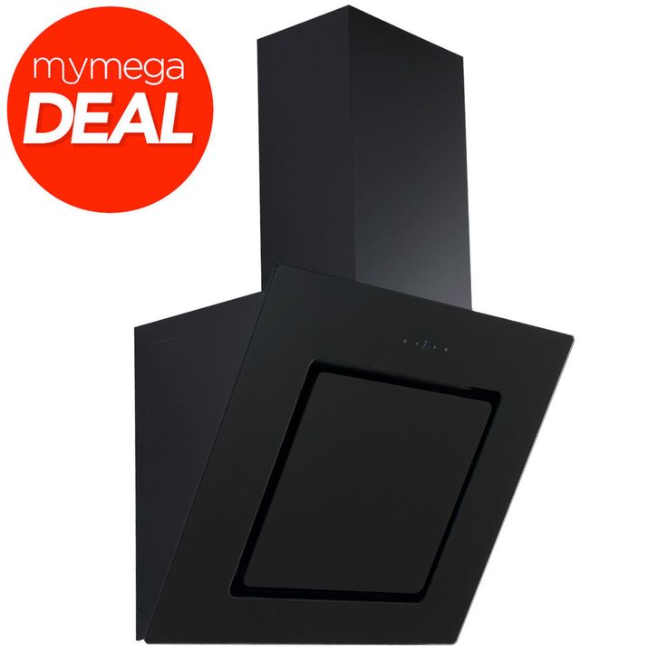 Econolux REF28342 60cm Black Angled Glass Chimney Cooker Hood Touch Control