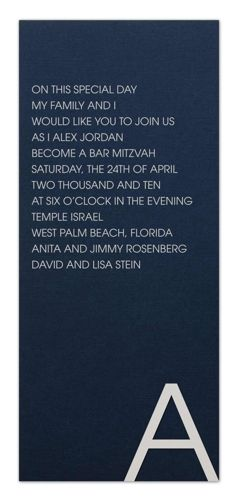 Silver and navy is one of the hottest color pairings going for Bar Mitzvah invitations right now.