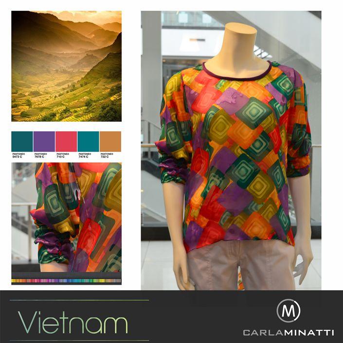 En esta colección también traemos desde NY nuevamente chiffones de seda con estampados exclusivos acordes con la paleta de colores Vietnam.