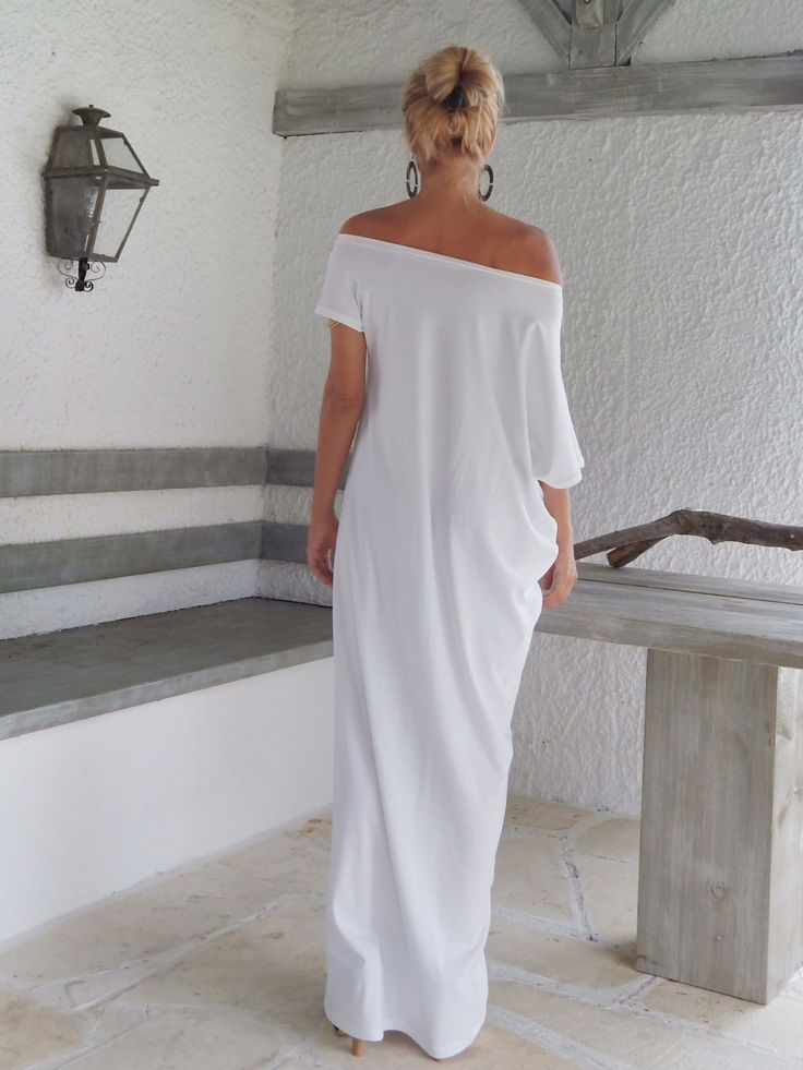 White Maxi Dress / White Kaftan / Asymmetric Plus Size Dress / Oversize Loose Dress / #35022 by SynthiaCouture on Etsy https://www.etsy.com/listing/203736950/white-maxi-dress-white-kaftan-asymmetric
