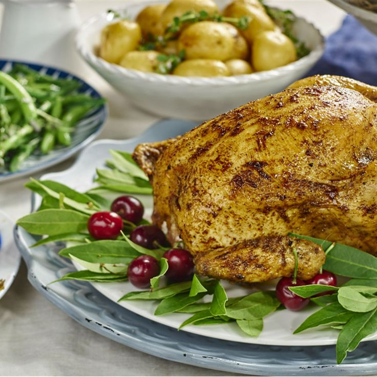 Try this Christmas Roast Chicken with Cherry-Pistachio Stuffing recipe.