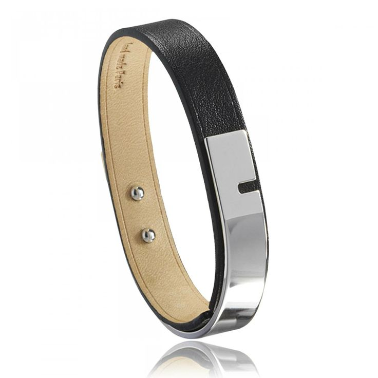 Ladies silver metal U-Turn black bracelets - Ursul