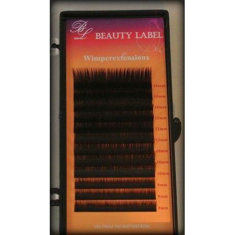 Bij happywimperextensions.nl  Beauty Label J curl Two Tone Lashes  Dit doosje bevat 12 rijtjes wimpers, met verchillende lengtes ; 3x 8mm, 3x 10mm, 3x 12mm, 3x 14mm De wimpers zijn in 1 dikte verkrijgbaar : 0.15 De kleuren van deze wimpers zijn zwart-bruin. De onderkant van de wimper is zwart en het loopt over naar bruin De J krul is een mooie, zachte krul  De wimperextensions van Beauty Label zijn van zeer goede kwaltiteit