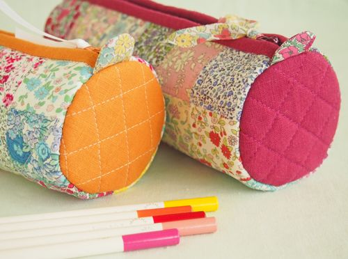 My favourite quick and pretty gift - a round pencil case.  Pretty By Hand