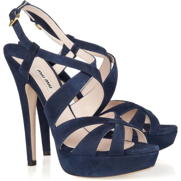Miu Miu Suede sandals ($305) ❤ liked on Polyvore featuring shoes, sandals, suede sandals, high heeled footwear, navy blue sandals, navy platform sandals and miu miu sandals