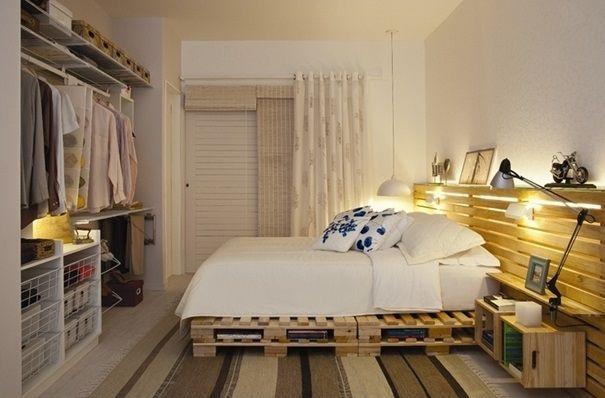uzun yatak basi modelleri ahsap metal aksesuarli basucu aydinlatmalar cekmece ve raflar paletten