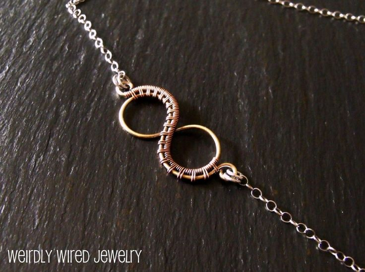 Mixed Metal Wire Wrapped Infinity Necklace - cool