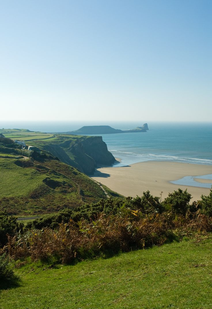 Beautiful Worm's Head at Rhossili Bay, Gower, Wales