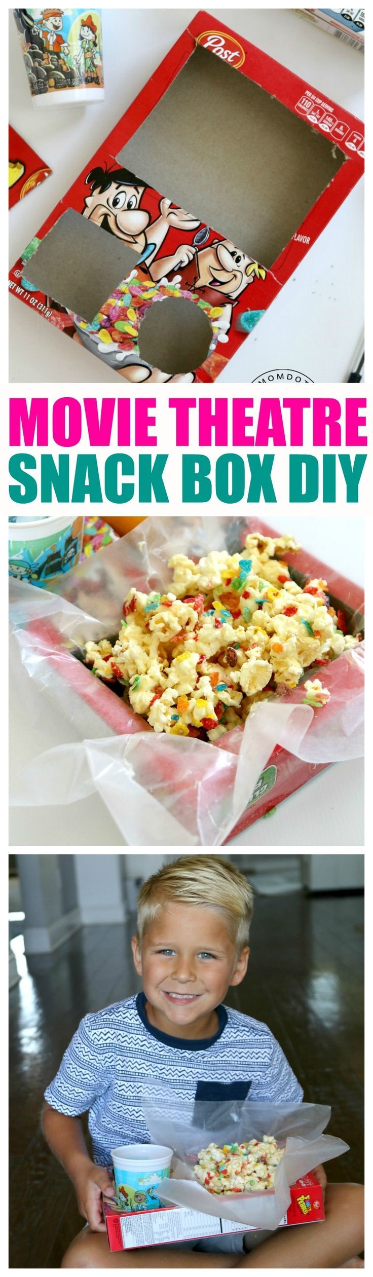 Make a Movie Theater Style Snack box at home, under 5 minute DIY to keep snacks stable while watching a movie