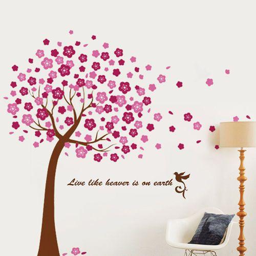 grande rosa fiori di ciliegio albero muro adesivi murali arte carta da parati per bambini in  da  su Aliexpress.com