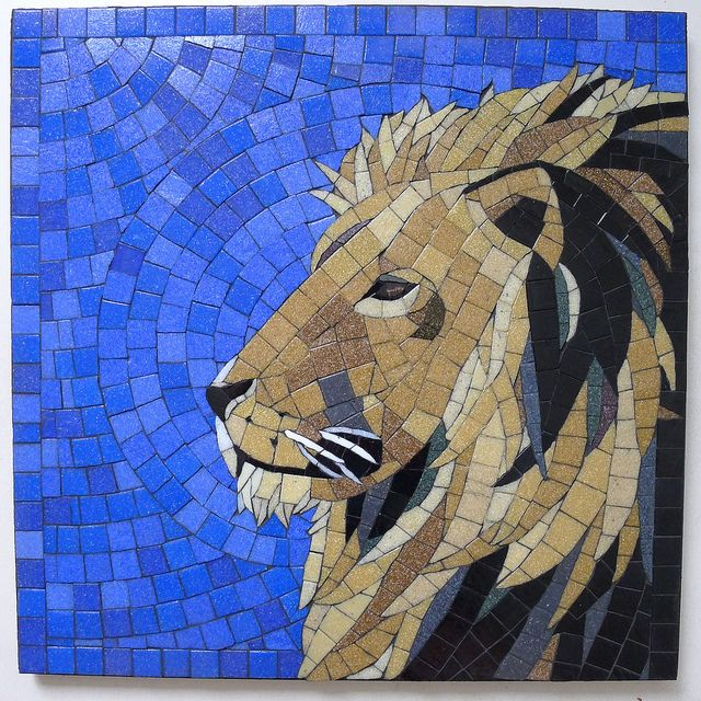 Mosaic Lion - by phoebe's mosaic, via Flickr